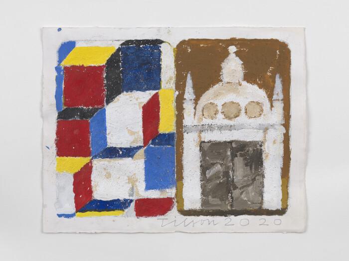 Joe Tilson, The Stones of Venice Depositi di Pane diptych, 2020, acrylic on paper, 14 1-2 x 18 1-2 in., 37 x 47 cm