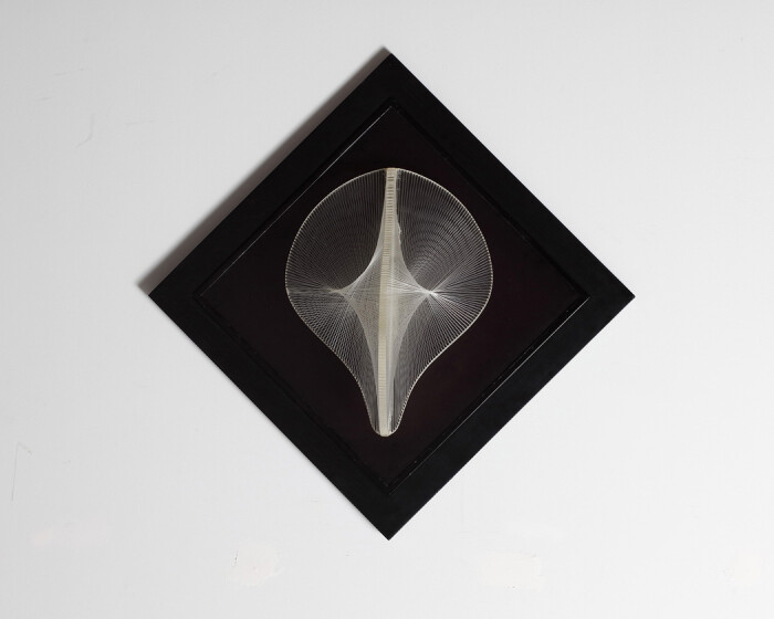 Gabo, Linear Bas-Relief (view 1), 1961, perspex with nylon monofilament, on black perspex base, 15 1-2 x 11 3-8 x 6 1-2 in., 39.5 x 29 x 16.5