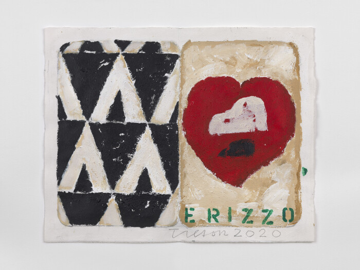 Tilson, The Stones of Venice Hat, Heart, Hedgehog diptych, 2020, acrylic on paper, 14 1-2 x 18 1-2 in., 37 cm x 47 cm