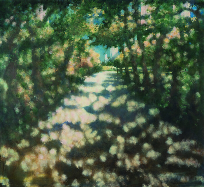 Jacklin, Into the Park II, 2014, oil on canvas, 78 z 72 in., 198.1 x 182.9 cm