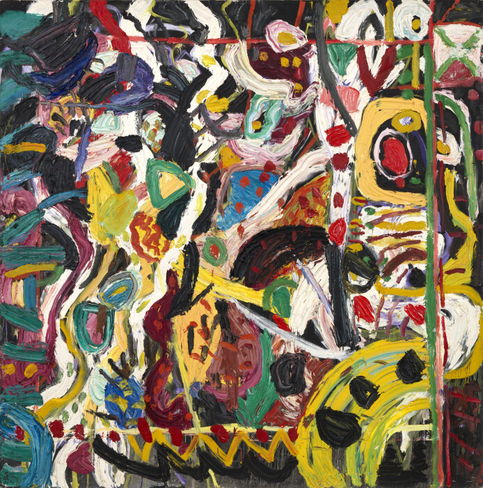 Ayres, Ding Dong Merrily on High, 1989,  oil on canvas, 112 1-8 x 113 in., 285 x 287 cm