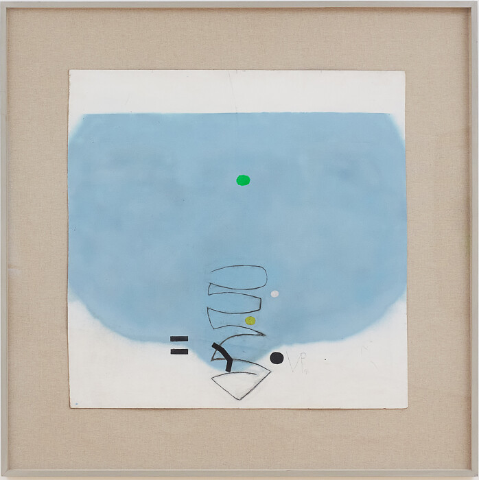 Pasmore, Untitled, 1996, oil, spray paint and pencil on board, 36 x 92 in., 91.4 x 233.7 cm