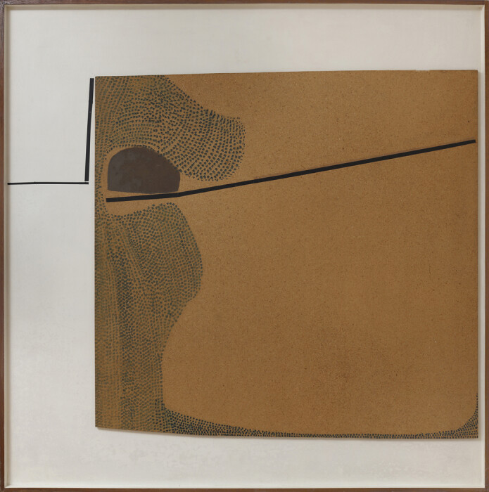 Pasmore, Blue Development, 1965, oil on board, 60 x 60 in., 152.5 x 152.5