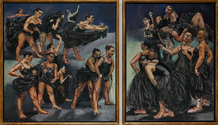 Rego, Dancing Ostriches Diptych, 1995, pastel on paper mounted on aluminium, left panel 64 x 61 in., 162.5 x 155 cm, right panel 63 x 47 1-8 in., 160 x 120 cm.