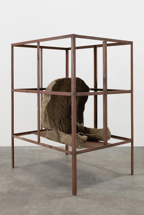 Abakanowicz, Figure in Iron House (View 3), 1989-1990, burlap, resin and iron, 58 1-4 x 43 3-4 x 35 in., 148 x 111.1 x 88.9 cm