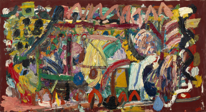 Ayres, August, 1987, oil on canvas, 82 5-8 x 153 1-2 in., 210 x 390 cm
