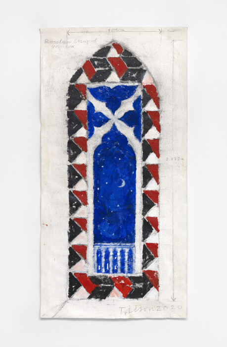 Joe Tilson, Project for Rosslyn Chapel Stained Glass Window, 2020, mixed media on paper, 44 1-2 x 22 1-4 in., 113 x 56 cm