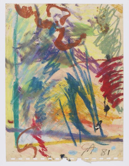 Ayres, Untitled, 1981, pastel on paper, 9 x 12 1-8 x 23 x 31 cm