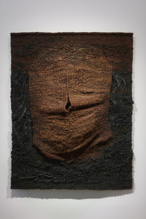 Abakanowicz, Pregnant (View 2), 1970-1980, tapestry, sisal, hair 53 1-2 x 42 in. 135.9 x 106.7 cm