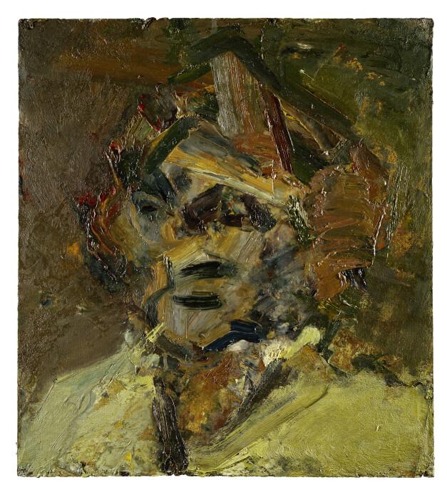 Auerbach, Head of Gerda Boehm, 1979-80, oil on board, 22 x 20 in., 55.9 x 50.8 cm,