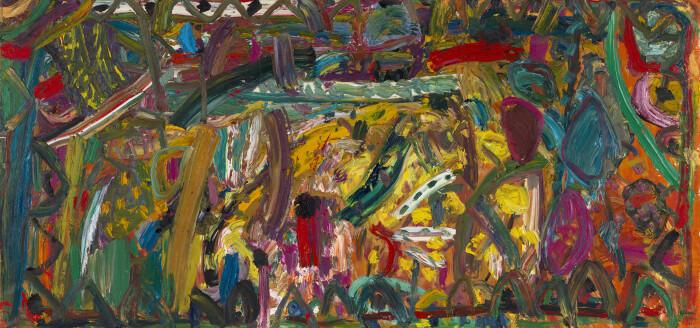 Ayres, Dance of Ludi Magni, 1984, oil on canvas, 65 5-8 x 135 3-4 in., 167 x 345 cm