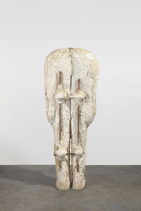 Abakanowicz, Plaster Body 2 (View 1), 1987, plaster and wood, 56 1-2 x 16 x 14 in., 143.5 x 40.6 x 35.6 cm