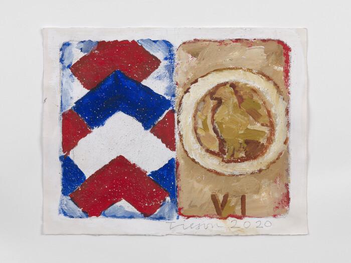 Joe Tilson, The Stones of Venice Tondo, 2020, acrylic on paper, 14 1-2 x 18 1-2 in., 37 x 47 cm