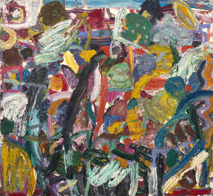 Ayres, Cuckoo Time, 1987, oil on canvas, 109 3-4 x 98 in., 279 x 249 cm