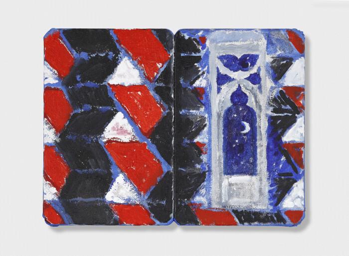 Tilson, The Stones of Venice Ca' Foscari 4 Diptych, 2019, acrylic on canvas on wood panel, 13 3-8 x 17 7-8 in., 34 x 45.5 cm